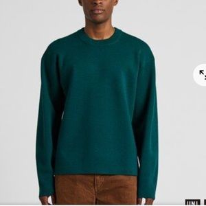 Uniqlo M Milano ribbed wool blend sweater Teal